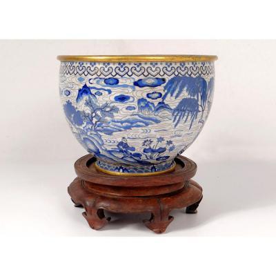Bassin Coupe Bronze émaux Cloisonnés Blanc Bleu Ming Zhengde Chine XVIème