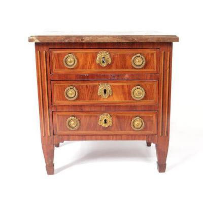 Small Commode Master Louis XVI Marquetry Satin Wood Rose Marble 18th