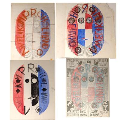 Ensemble Projets Aquarelles Lithographie Ernst Van Leyden Provo Warhol 1967