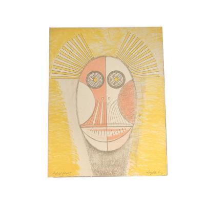 Lithography Colors Ernst Van Leyden Emaciated Owl 1967 Abstract Ea Ap