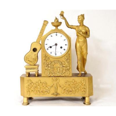 Pendule Empire Bronze Doré Vestale Papillon Guitare Leroy Palais Royal XIXè