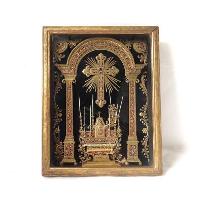 Paperolle Cadre Reliquaire Autel Croix Tabernacle église Pique-cierges XIXè