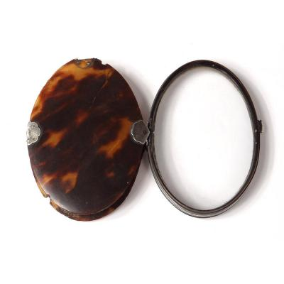 Oval Pocket Magnifier In Tortoiseshell Frame Sterling Silver Eighteenth Century