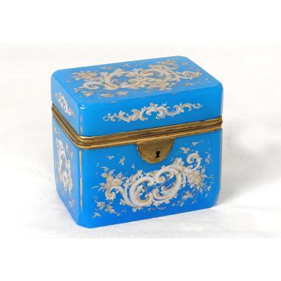 Coffret Boîte Charles X Opaline Bleue émaillée Dorure Fleurs XIXème Siècle