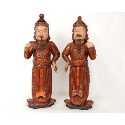 Pair Polychrome Wood Sculptures Chinese Dignitaries Boxes Wishes XIXth