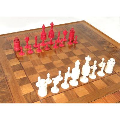 Chess Set Old Carved King King Pieces Cavalier Nineteenth Pieces