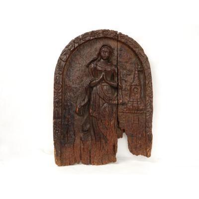 Panneau Bois Sculpté Femme Angélus Village Alsace Schalbach Clocher 15è-16è