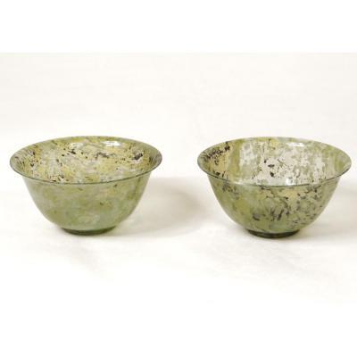 Paire Petits Bols Jade Néphrite Chine XIXème Siècle