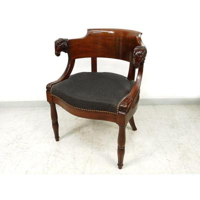 Office Chair Jacob Mahogany Carved Heads Rams I Empire Nineteenth