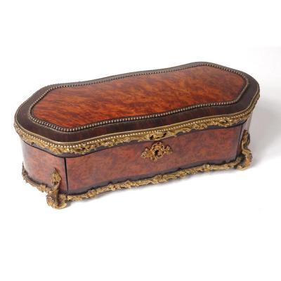 Boîte à Gants Loupe Amboine Palissandre Bronze Doré Napoléon III XIXème