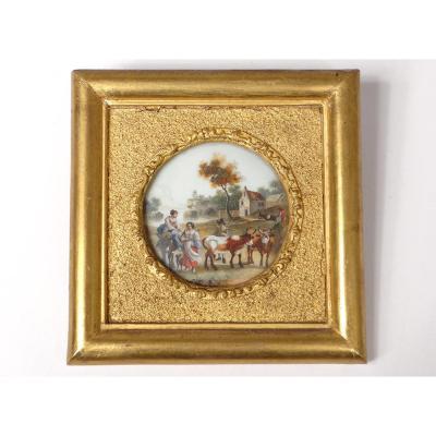Miniature Peinte Personnages Village Campagne Troupeau Romantique XIXème