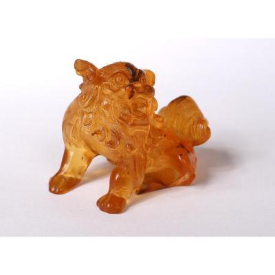 Petite Sculpture Ambre Chien De Fô Chine Lion 14,6gr XVIIIè Siècle