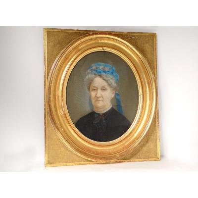 Pastel Portrait Femme Adèle Besqueut Forges Kerino Vannes Bretagne XIXè