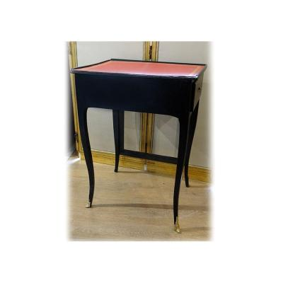 Writing Table With Louis XV Screen Lacquered Wood Black Leather Red XIXth Century