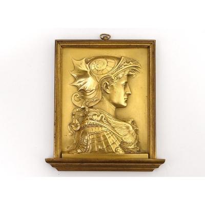 Plaque Bas-relief Bronze Profil Antique Scipion l'Africain Verrocchio XIXè