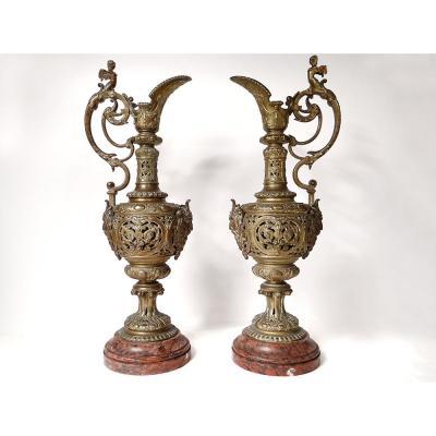 Paire Grandes Aiguières Cassolettes Bronze Renaissance Kerino Vannes XIXème