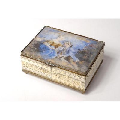 Boîte Coffret Miniature Peinte Scène Galante Couple  ivoire Bois XIXème Siècle