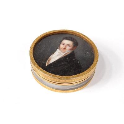 Boîte Ronde Miniature Portrait Homme Noble Chasselat Or Massif 1809 XIXème