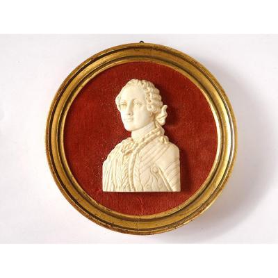 Miniature Bas-relief Ivoire Louis XV Quentin De La Tour Heckmann Paris XXè