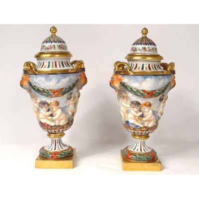 Pair Pots Cutlery Porcelain Capodimonte Faun Cherubs Bacchus Nineteenth