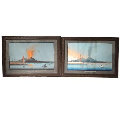 Pair Neapolitan Gouaches Eruption Vesuvius Italy Boats May 27, 1858 Nineteenth