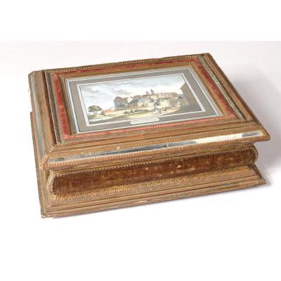 Coffret Boîte Ouvrage Anglaise Carton Papier Gaufré Doré Gravure XIXème