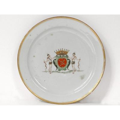 Assiette Porcelaine Compagnie Indes Armoiries Bretagne Kersabiec Kangxi 18è