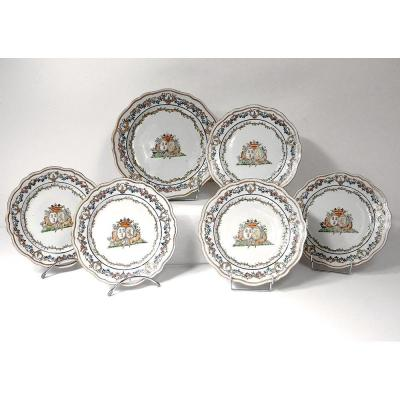 5 Plates 1 Dish Company India Armoirie Visdelou Bonamour Qianlong 18th