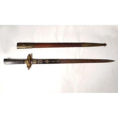 Couteau Dague Chasse Vénerie Corne Bronze Sangliers Coulaux Klingenthal 19è