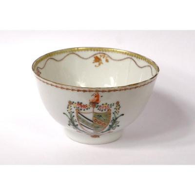Coupelle Armoriée Sorbet Porcelaine Compagnie Indes Blason Armoiries XVIIIè