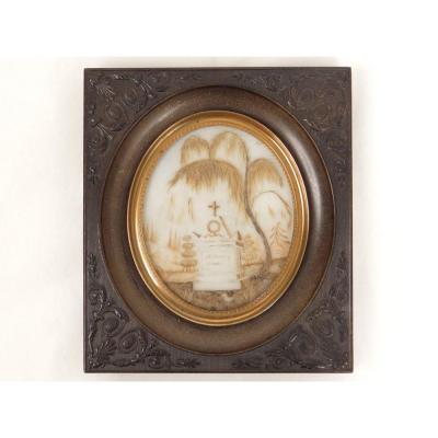 Miniature Travail de Cheveux Monument Funéraire Croix Souvenir XIXè Siècle
