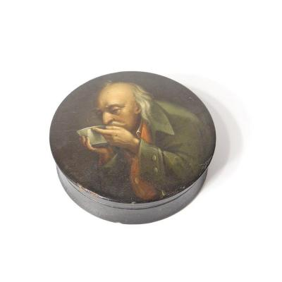 Russian Round Box Lacquered Wood Portrait Man Drinking Nineteenth Century