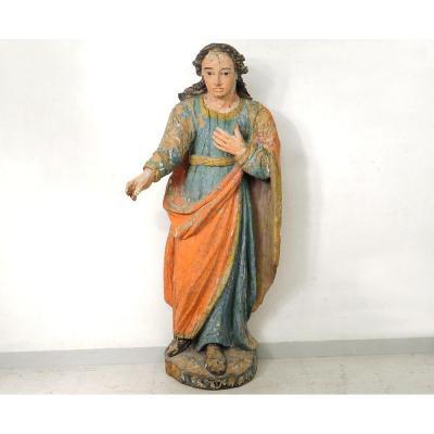Statue Religieuse Bois Sculpté Polychrome Saint-just Beauvais Auxerre XVIIè