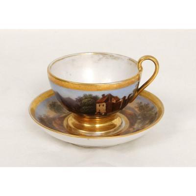 Tasse Soucoupe Porcelaine Paris Paysages Personnages Bateaux Empire XIXème