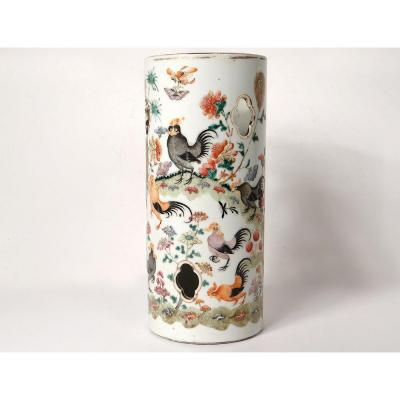 Large Pot Brushes Chinese Porcelain Roosters Landscape Flowers Tongzhi Nineteenth