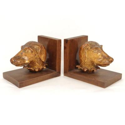 Pair Bookends Wood Carved Gilded Heads Dog Hunting Braque Twentieth Century