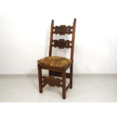 Carved Walnut Renaissance Chair Flowers Lily Seventeenth Century
