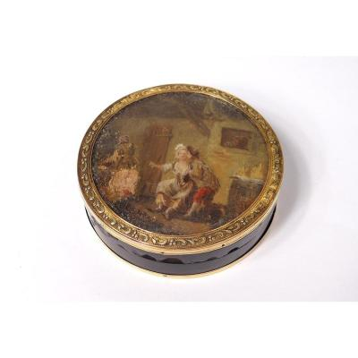 Boîte Ronde Or Massif 18 Carats écaille Miniature Scène Galante Fin XVIIIè