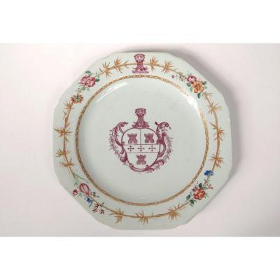 Plat Porcelaine Compagnie Indes Armoiries Blason Bambous Qianlong XVIIIème