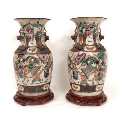 Paire Vases Chinois Porcelaine Nankin Personnages Asiatiques Chevaux XXè