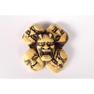 Netsuke Manju Ryusa Ivory Carved Masks Noh Demon Oni Japan Signed Edo Nineteenth