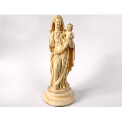 Petite Sculpture Ivoire Vierge à l'Enfant Jésus Parisienne XVIIIème Siècle