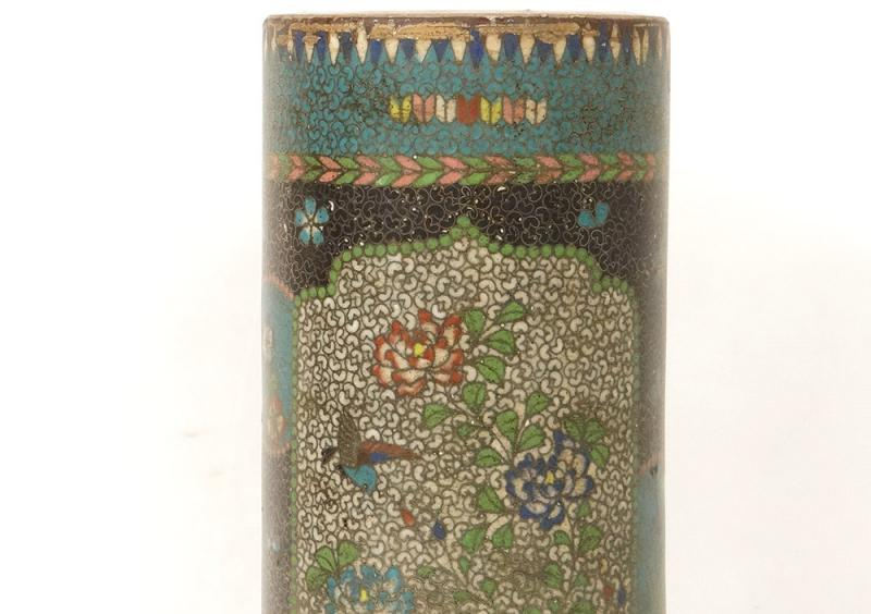 Vase Rouleau Cloisonné Sur Porcelaine Chubei Totai Shippo Japon Meiji XIXè-photo-2