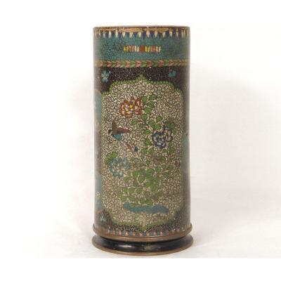 Vase Rouleau Cloisonné Sur Porcelaine Chubei Totai Shippo Japon Meiji XIXè