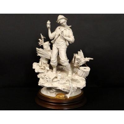 Sculpture Biscuit Capodimonte Personnage Pêcheur Poisson L. Cazzola XXème