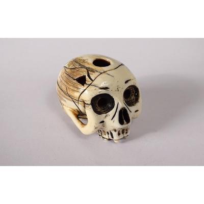 Netsuke Ivoire Sculpté Crâne Vanité Signé Shozan Japon Edo Skull XIXè Siècle
