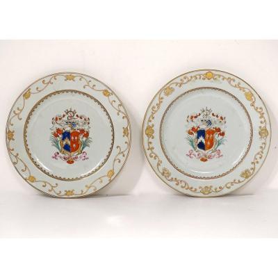 Paire Plats Porcelaine Compagnie des Indes Armoiries Blason Chevalier 18è