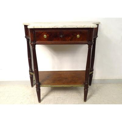 Small Console Louis XVI Mahogany White Marble Curved Sides XIXth Century