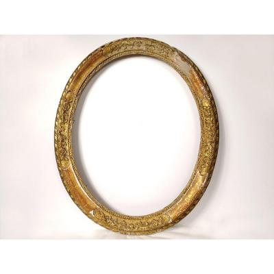Oval Frame Carved Wood Golden Flowers Foliage XVIIIth Century