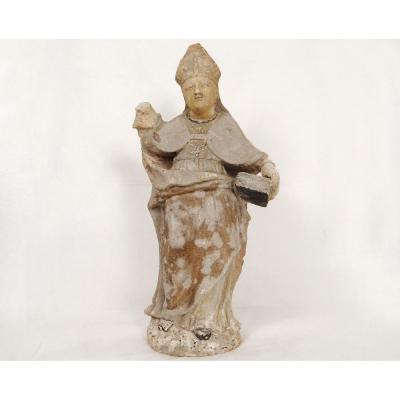 Statue Religieuse Pierre Blanche Sculpté évêque Bible Croix XVIIème Siècle